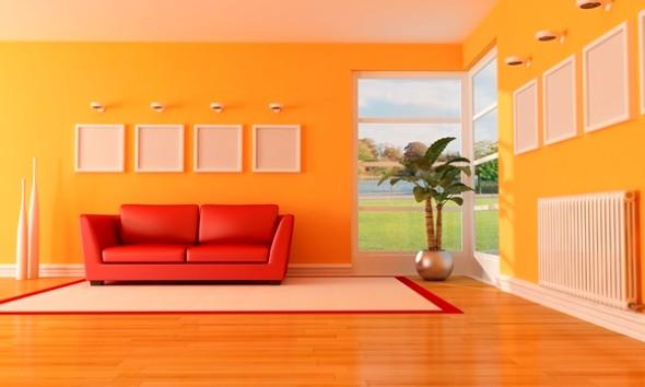 4 dicas para decorar a sala com tons laranja e vermelhos e 10 fotos. Black Bedroom Furniture Sets. Home Design Ideas