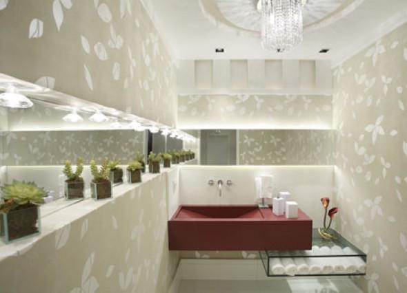 papel de parede decoracao de interiores:Vasinhos de flor decora qualquer ambiente, inclusive seu lavabo