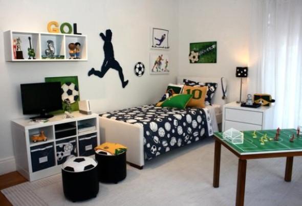 Quarto Juvenil Completo Em Madeira ~ Decora??o de quarto de menino voltado para futebol