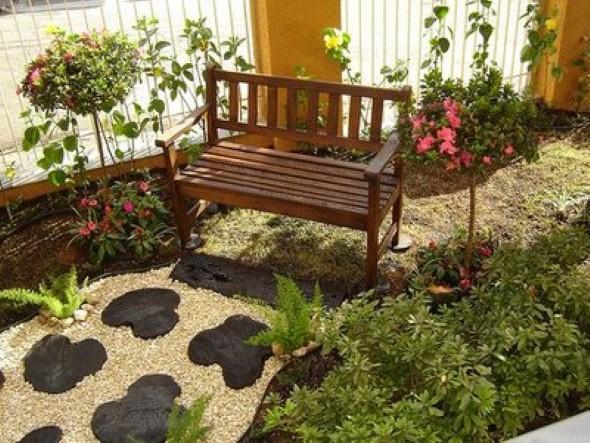 pedras jardins pequenos : pedras jardins pequenos:modelos de jardim caseiro montado e decorado em espaços pequenos