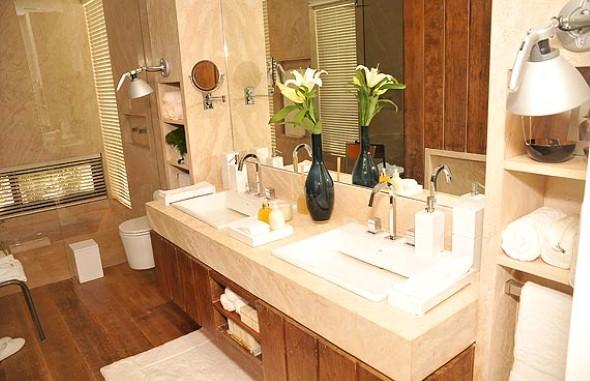 17 ideias para decorar seu banheiro e lavabo com flores ou plantas -> Banheiro Decorado Flores