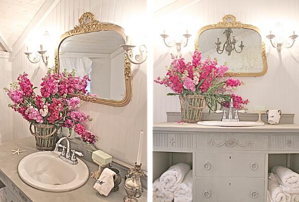 17 ideias para decorar seu banheiro e lavabo com flores ou plantas -> Decoracao De Banheiro Provencal
