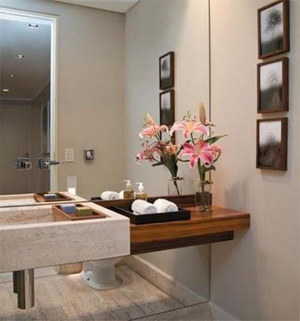 17 ideias para decorar seu banheiro e lavabo com flores ou plantas -> Banheiros Lavabos Simples
