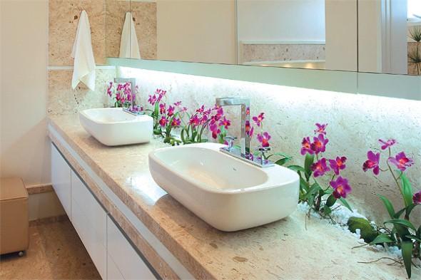 17 ideias para decorar seu banheiro e lavabo com flores ou plantas -> Flores Artificiais Para Decoracao De Banheiro