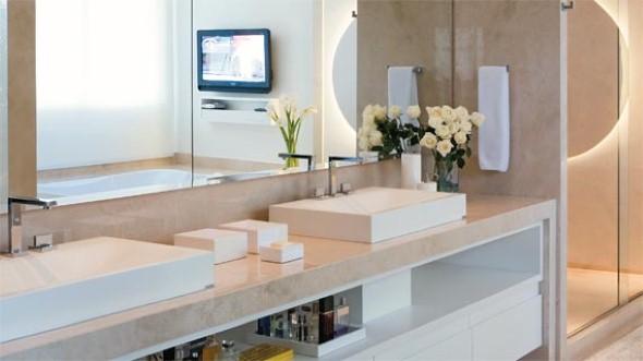 17 ideias para decorar seu banheiro e lavabo com flores ou plant # Gabinete De Banheiro Travertino