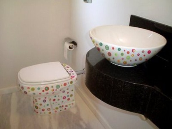 20 modelos de adesivos que podem ser usados na decoração do banheiro -> Banheiro Feminino Chique