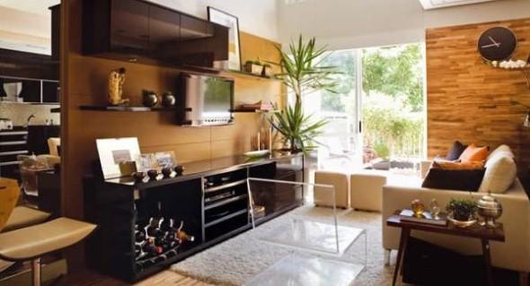 Decoracao Sala Homem Solteiro ~ Invista também em móveis, painéis e bancadas de madeira , que são