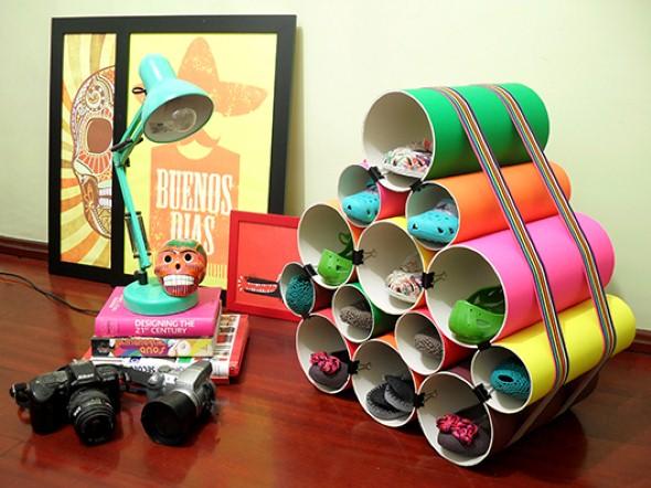 Como usar canos de PVC na decoração de ambientes 008