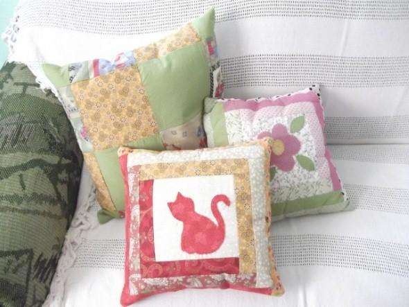 Decoração em patchwork para almofadas e travesseiros 015