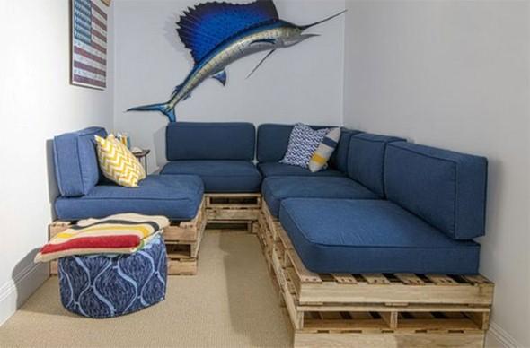 Sofás com paletes e madeira reciclável 012