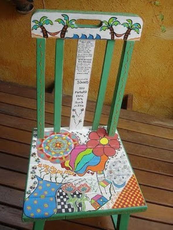 Como reformar cadeira velha para decoração 009