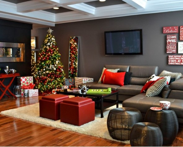 5 dicas de como fazer a decora o da sala para o natal e 16 fotos. Black Bedroom Furniture Sets. Home Design Ideas