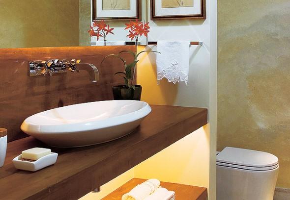 Bancada de banheiro decorada -> Banheiros Modernos Atuais