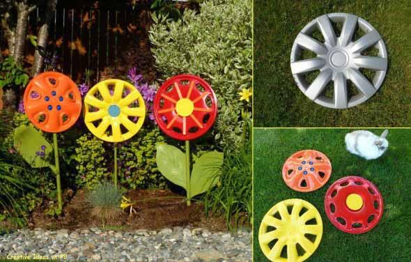 Modelos de enfeites de materiais reciclados para o jardim