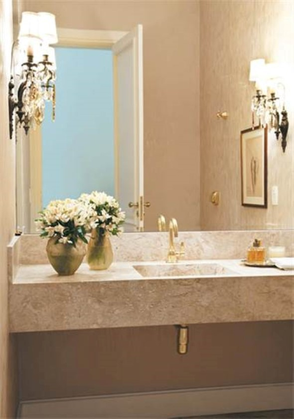 14 modelos de lavabos pequenos e modernos -> Lustres Banheiro Pequeno