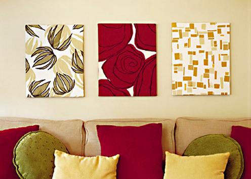 24 dicas para decorar paredes e quadros com tecidos - Telas decorativas para paredes ...