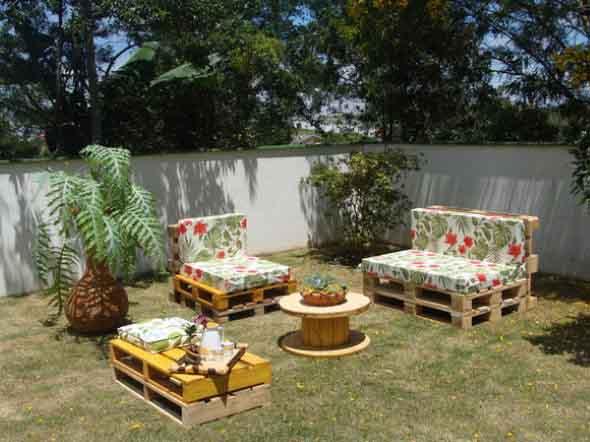 decoracao jardim paletes : decoracao jardim paletes:21 idéias de como usar paletes na decoração do jardim