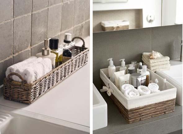 Decoração simples e útil para o banheiro ficar mais organizado -> Decoracao Banheiro Cestos