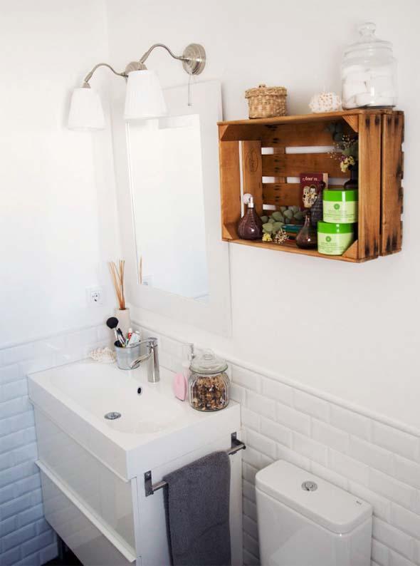 Decoração simples e útil para o banheiro ficar mais organizado -> Banheiro Simples E Organizado