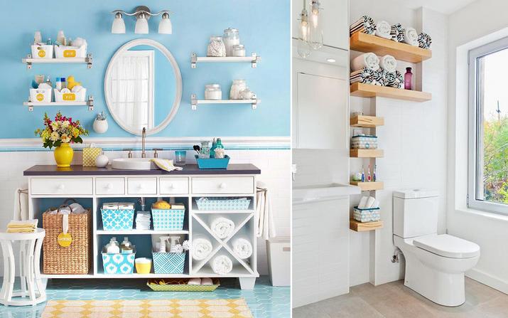 Decoração simples e útil para o banheiro ficar mais organizado -> Organizar Armario De Banheiro
