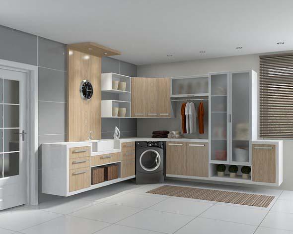 21 ideias para decorar e organizar lavanderia for Decorar lavaderos pequenos