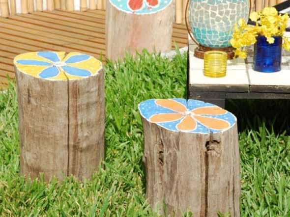 Banquinhos na decoração do jardim 005