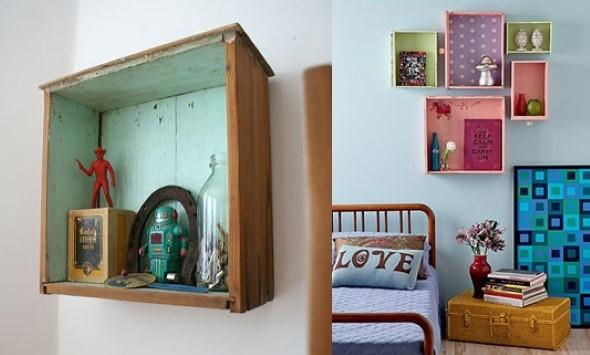 Usar gavetas como nichos decorativos 002