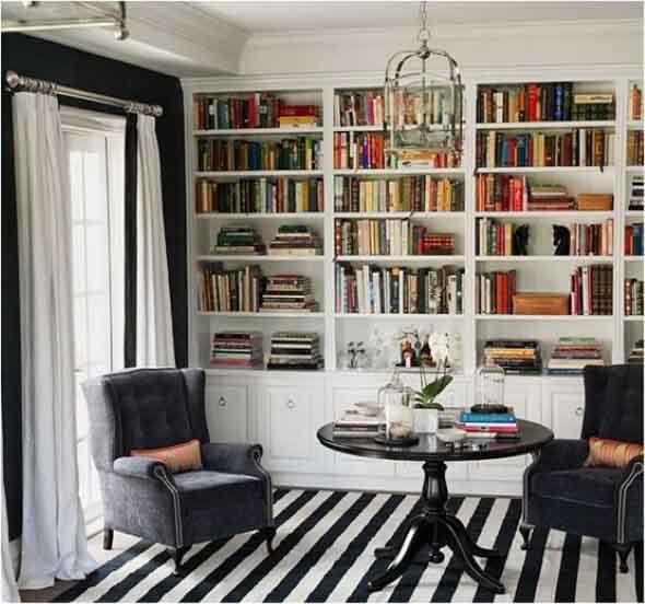 Home Office White Blue: Decorando Uma Sala De Leitura Em Casa