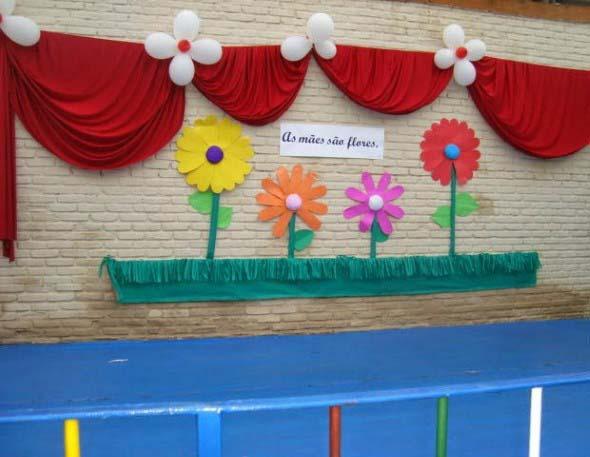 Decoraç u00e3o para o Dia das M u00e3es em escola -> Decoração Para O Dia Das Mães Escola