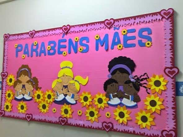 Decoraç u00e3o para o Dia das M u00e3es em escola -> Decoração Dia Das Maes Escola