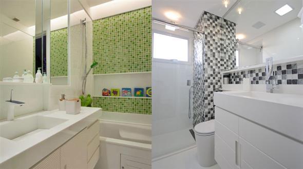 Decorar o banheiro com pastilhas  18 modelos diferentes -> Banheiro Com Pastilha De Vidro No Chao