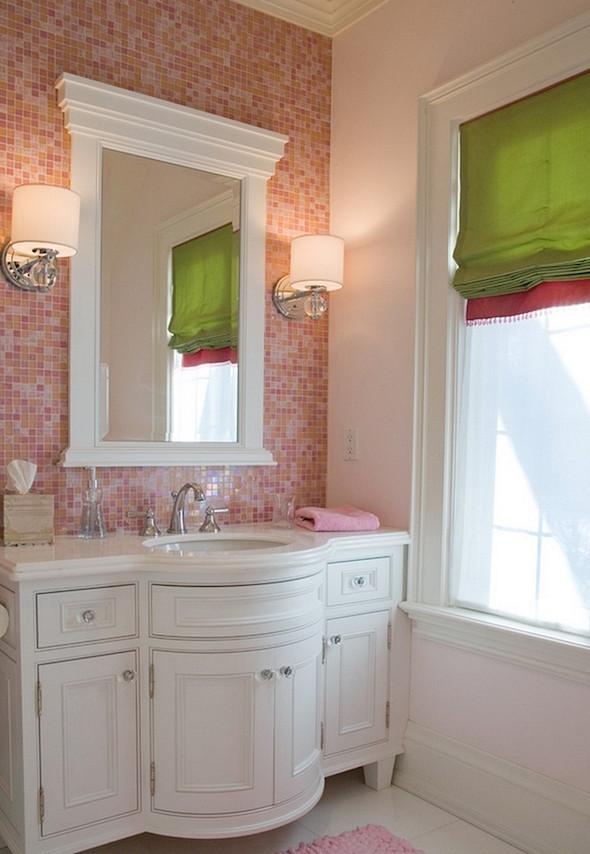 Decorar o banheiro com pastilhas  18 modelos diferentes -> Banheiro Decorado Com Pastilhas Rosa