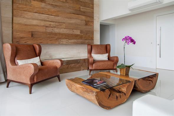 Lindas mesas de madeira r sticas para decorar sua casa - Pared rustica interior ...