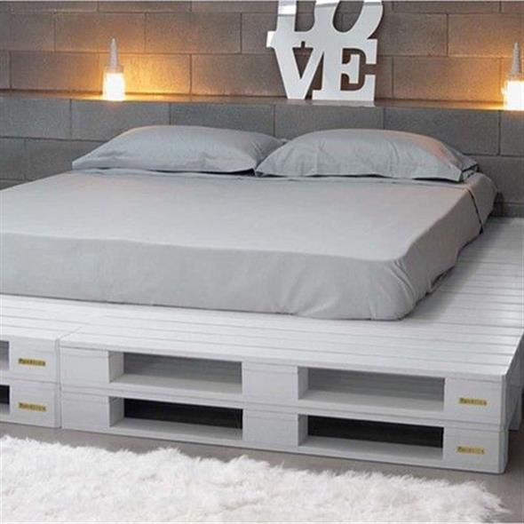 Diy como fazer uma cama de paletes bem charmosa - Lit en palette de bois avec lumiere ...