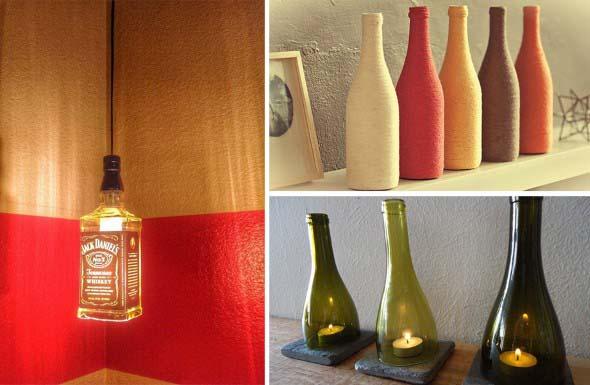 decoração com garrafas de vidro 003