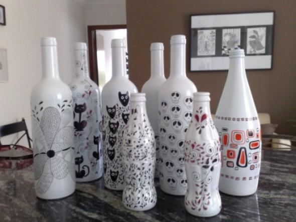 decoração com garrafas de vidro 012