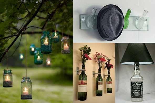 decoração com garrafas de vidro 016