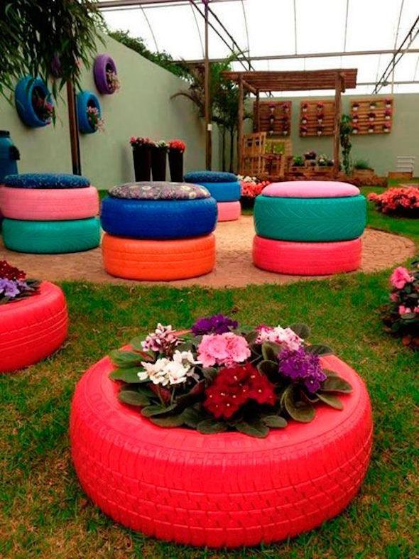 18 maneiras de usar pneus na decora o de ambientes. Black Bedroom Furniture Sets. Home Design Ideas