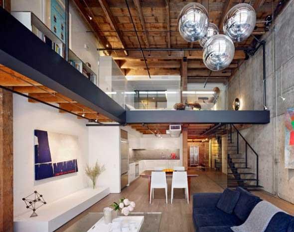 Interior de um loft urbano