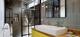 Decoração industrial no banheiro