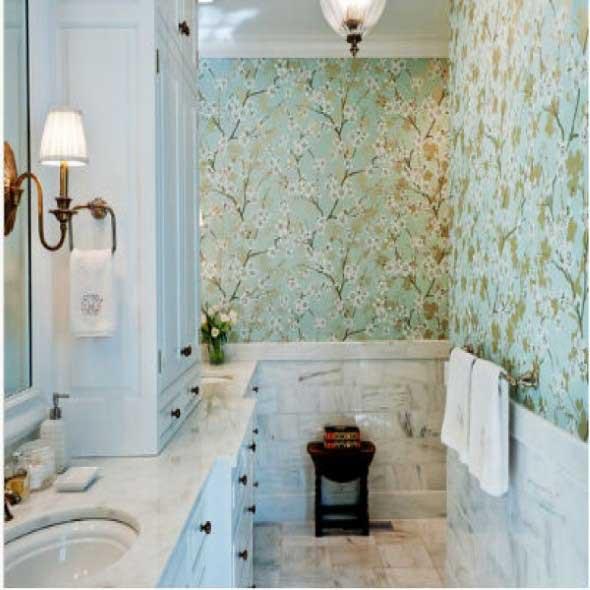 Dicas de papel de parede para banheiros -> Decoracao De Banheiro Com Tecido Na Parede