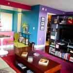 Colorido na decoração da sala de estar 014