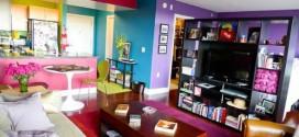 Decoração colorida para sala de estar