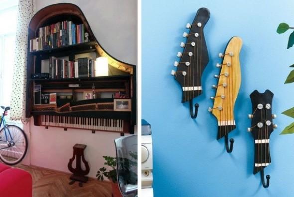 Instrumentos musicais quebrados na decoração 006