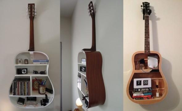 Instrumentos musicais quebrados na decoração 009