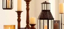 Decoração com lamparinas e castiçais