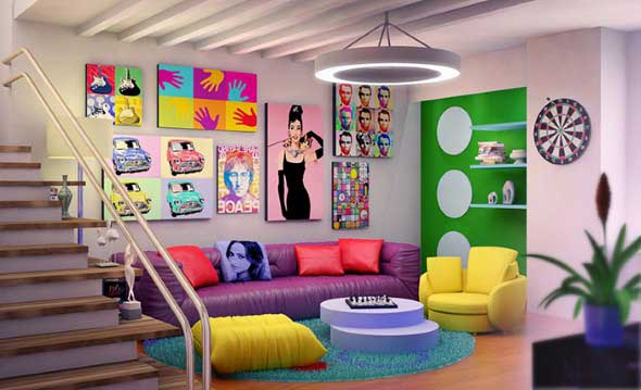 Sala de estar com decora o vintage - Mobiliario pop art ...
