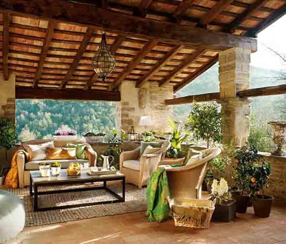 Decoração rústica na varanda e jardim 005