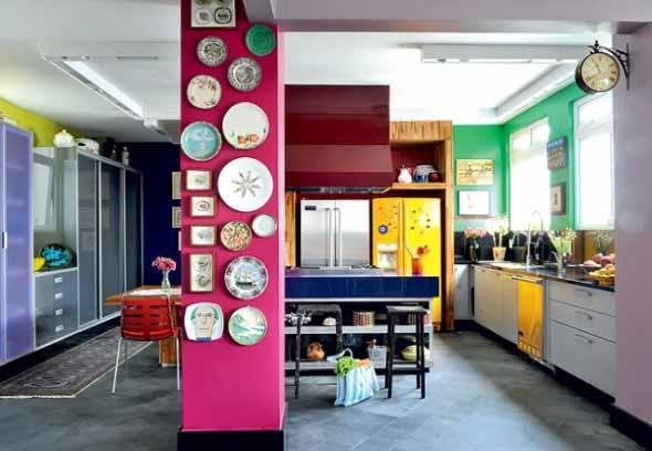 Colorido na decoração da cozinha 007
