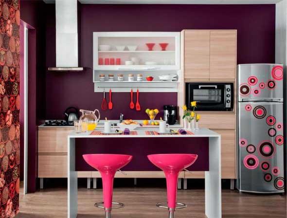 Colorido na decoração da cozinha 008